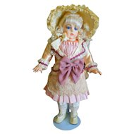 "Vintage Dress for 16"" Doll with Antique Bonnet"