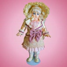 "Vintage Dress for 16"" Doll with Antique Bonnet"