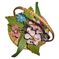 Vintage Enamel Flowers with Butterfly Arrangement in GP Basket with Pearls