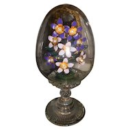Vintage Etched Crystal Egg with Enamel Purple Flowers