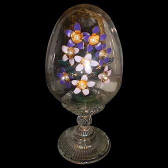 Vintage Etched Crystal Egg with Enamel Purple Flowers