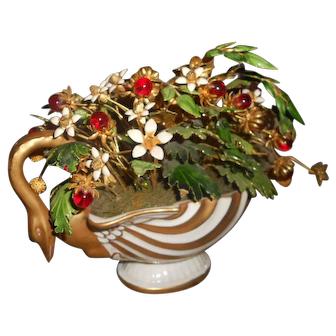 Jane Hutcheson Enameled & Glass Jeweled Flowers Hand Painted Swan