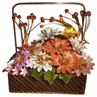 Vintage GP Enamel Flower Arrangement 'Fall' with Original Box
