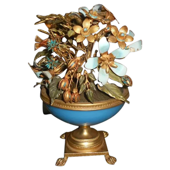 Jane Hutcheson Blue Opaline Ormolu Enamel Jeweled Floral Arrangement