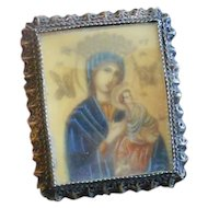 Antique Doll House Religious Painting in European Silver Ormolu Frame