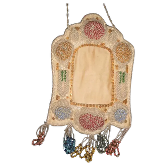 Victorian Beaded Hanging Picture Frame