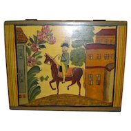 Vintage Folk Art Mustard Yellow Tole Painting 'Washington Riding Horse' Box