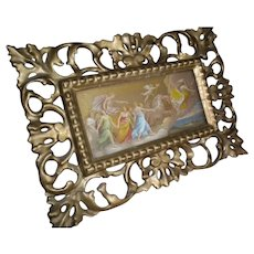 Antique Gesso Picture Frame with Golden Angels Print