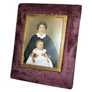 Victorian Hand Colored Photo of Mother and Baby in Velvet Frame