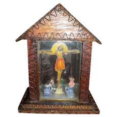Vintage Jesus Glass Diorama Tramp Art Lamp