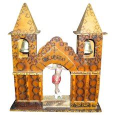 Vintage Jesus Glass Diorama Tramp Art 'Church' with Bells