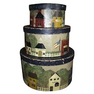 Three Vintage Folk Art Tole Painted Village Stacking Pantry Boxes