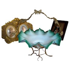 Antique French  Ormolu Palais Royal Opaline Ruffle Basket