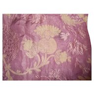 Victorian Gold Metallic Plum Brocade Fabric Piece