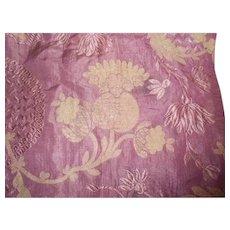 Victorian Gold Metallic Plum Brocade Fabric Piece