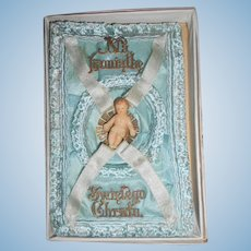 Antique Tiny Wax Baby on Blue Silk and Ribbon Trim in Original Box