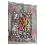 Antique Tiny Wax Baby with Dresden Silver Church in Original Box - Momento Mori