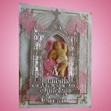 Antique Tiny Wax Baby with Dresden Silver Church in Original Box - Momento Mori