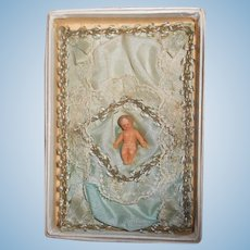 Antique Tiny Wax Baby on Blue Silk & Ribbon in Original Box