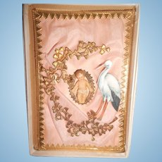 Antique Tiny Wax Baby on Pink Silk with Dresden Trim in Original Box