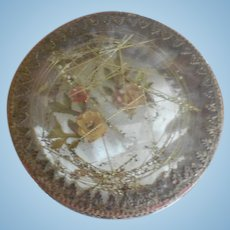 Antique French Convex Glass and Paper Dresden Trim Small Box