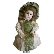 Vintage Metallic Brocade Doll Dress with Matching Bonnet