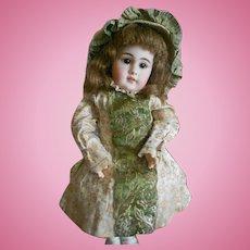 Vintage Metallic Brocade Doll Dress with Matching Bonnet