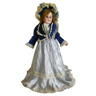 Vintage Blue Silk Doll Dress with Matching Bonnet, Slip & Pantaloons