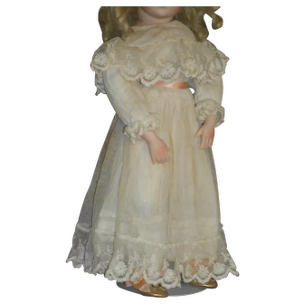 Antique Tulle Lace Over Doll Dress