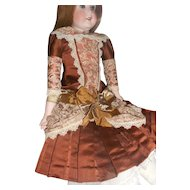 Beautiful Vintage Brocade Pleated Doll Dress with Antique Lace