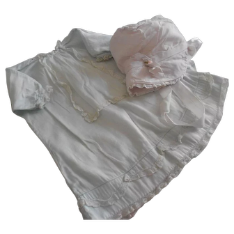Antique Soft Blue and Tiny Lace Baby Dress with Light Bonnet