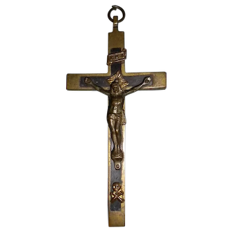 """Victorian Crucifix with """"Sons of Adam"""" Skull and Crossbones"""