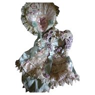Beautiful Artist Elaborate Doll Dress with Matching Bonnet