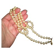 Miriam Haskell Classic Single Strand Glass Pearl Necklace
