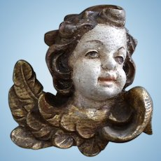Old Hand Carved Wooden Putti Head
