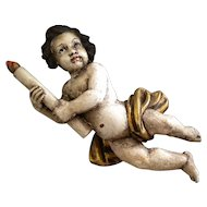 Old Hand Carved Wooden Putti with Candle
