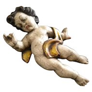 Old Hand Carved and Hand Painted Wooden Putti
