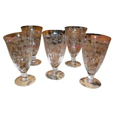 Cambridge Etched Glass Water Goblets - Set of 5