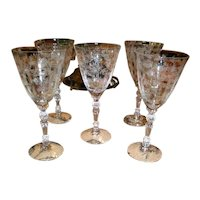 Cambridge Etched Glass Wine Glass - Set of 5