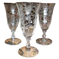 Cambridge Etched Glass Small Wine Glasses - Set of 3