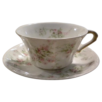 Haviland Limoges Antique Pink & Yellow ROSES Cup & Saucer