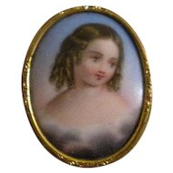Antique Sentimental Mourning Miniature of Little Girl in Clouds