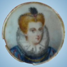 Tiny Antique Painting of a Renaissance Lady in Blue