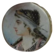 Tiny Antique Painting of a Lady's Profile