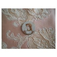 Tiny Antique Painting of a Medieval Lady
