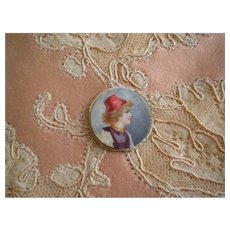 Tiny Antique Painting of a Lady's Profile wearing a hat