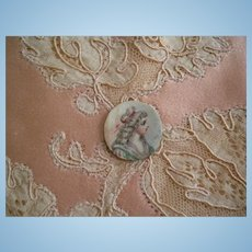 Tiny Antique Painting of a Lady in a Bonnet