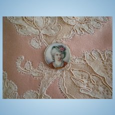 Tiny Antique Painting of a Lady in a flower hat