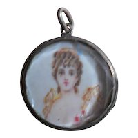 Antique Silver Crystal Tiny Locket c. 1700 with little paintings
