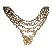 Miriam Haskell Cascading Faux Pearl Necklace